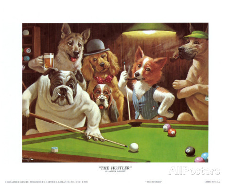 Dogs Playing Pool Posters Dogs Playing Golf And Poker By